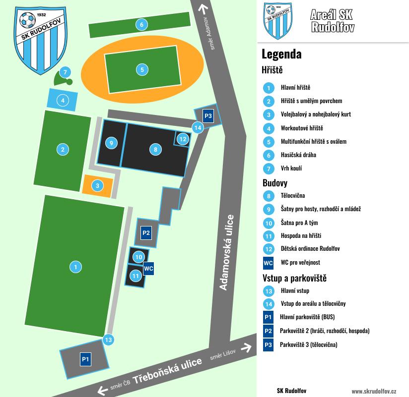 Mapa areálu SK Rudolfov